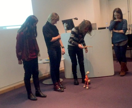 DELM (Dagmara, Ewa, Louise, and Magda) present their project about identity and communication through the 'wonderland of marionnettes', at Chelsea College of Arts, London. Photo credit Kelise Franclemont.