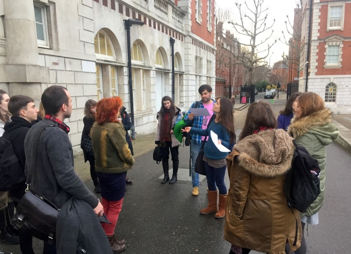 Louise gives a tour about Chelsea College of Arts history and architecture, at Chelsea College of Arts, London. Photo credit Kelise Franclemont.