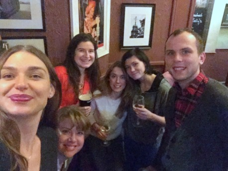 (l-r) Oksana, Kelise, Monika, Sarah, Agata, and Wojtek. Selfie at our local pub, the Morpeth Arms nearby Chelsea College of Arts.