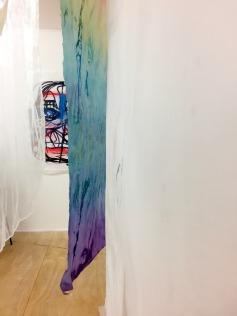 "(background) Drawing by Monika Krasoń. (foreground) ""Maze of Fabrics"" by Alex Roberts, Karina Kaluza, and Monika Mysiak."