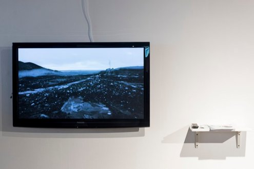 Agatha Leżuch, Joseph Lichy. 'The Cave', 2017, digital video and text, in 'Connect: Katowice and London' at Rondo Sztuki Gallery, Katowice, Poland. Image courtesy Rondo Gallery and Connect: Art Projects. Photo credit Michał Jędrzejowski.